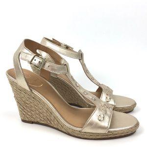 Jack Rogers leather wedge sandal espadrille gold